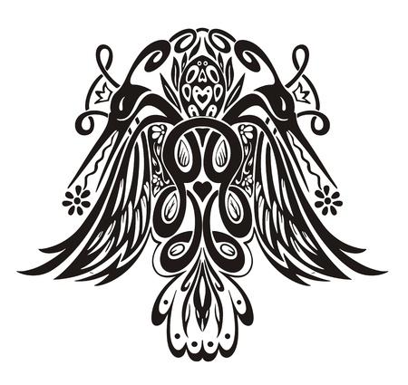 birds of paradise: Stylized symmetric vignette with birds. Vector illustration EPS8