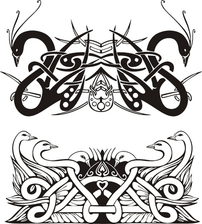 Stylized symmetric knot vignettes with birds. Stock Vector - 17331769