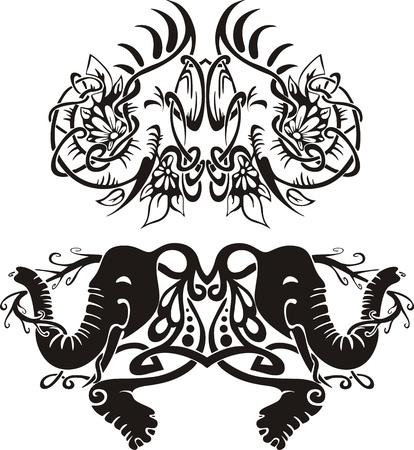Stylized symmetric vignettes with elephants.