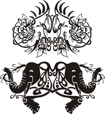 Stylized symmetric vignettes with elephants.