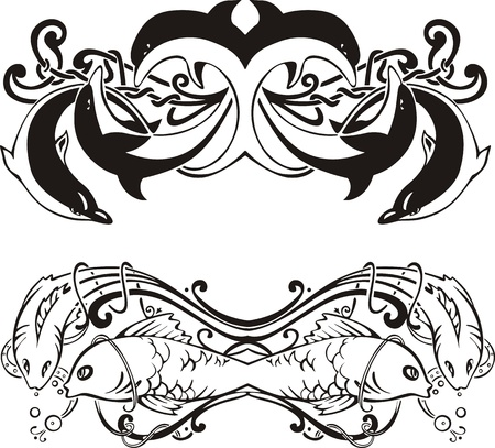 Stylized symmetric vignettes with dolphins and fish.  Vector