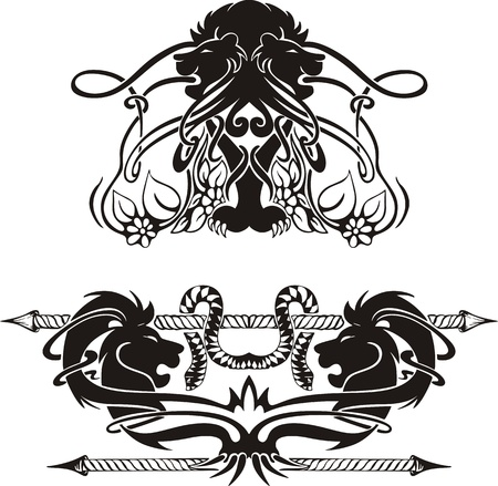 stylistic embellishments: Stylized symmetric vignettes with lions