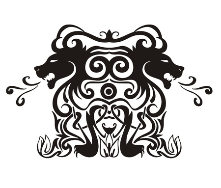 stylistic embellishments: Stylized symmetric vignette with lions. Vector illustration