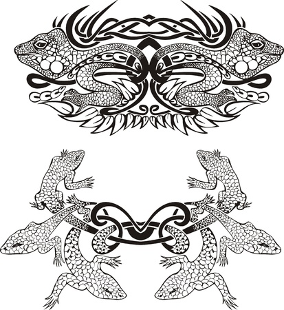 salamander: Stylized symmetric vignette with lizards. Vector illustration EPS8 Illustration