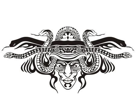 Stylized symmetric vignette with snakes.