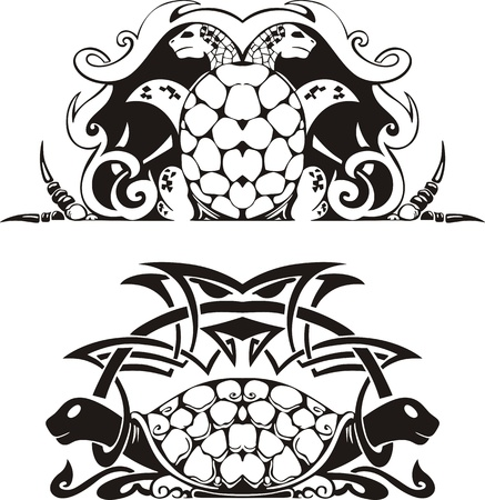 Stylized symmetric vignette with turtles Vector