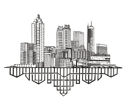 アトランタ、ジョージアのスカイライン。黒と白  イラスト・ベクター素材