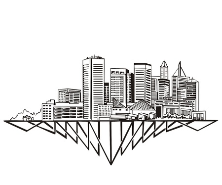 Baltimore, MD Skyline. Black and white  Vector