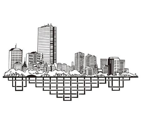 ボストン、マサチューセッツ州のスカイライン。黒と白  イラスト・ベクター素材