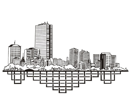 Boston, MA Skyline. Black and white  Vector