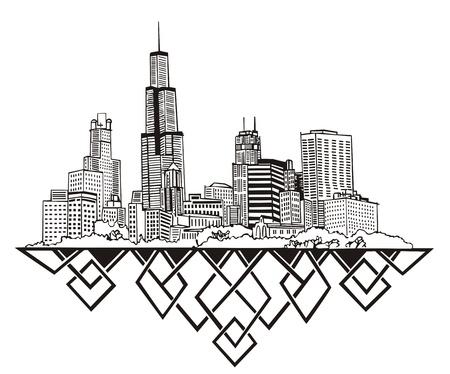 シカゴ、イリノイ州のスカイライン。黒と白