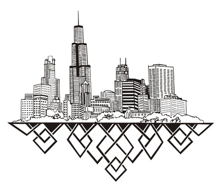 chicago skyline: Chicago, IL Skyline. Black and white Illustration