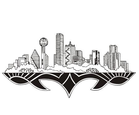 Dallas, TX Skyline. Black and white