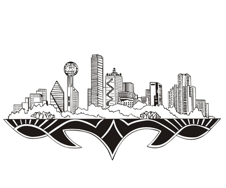 Dallas, TX Skyline. Black and white  Vector
