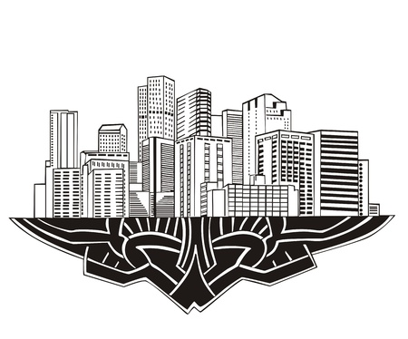 Denver, CO Skyline. Black and white  Stock Vector - 17331894