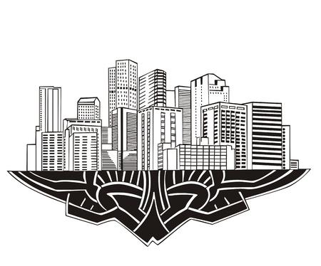 denver co: Denver, CO Skyline. En blanco y negro Vectores