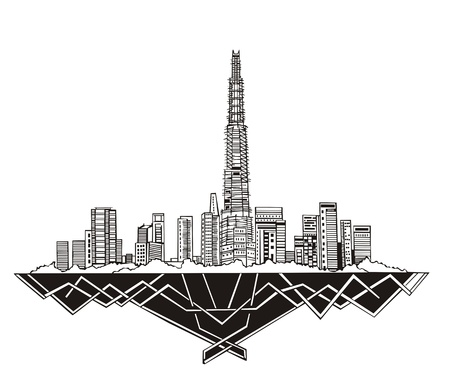 Dubai Skyline (UAE). Black and white  Vector