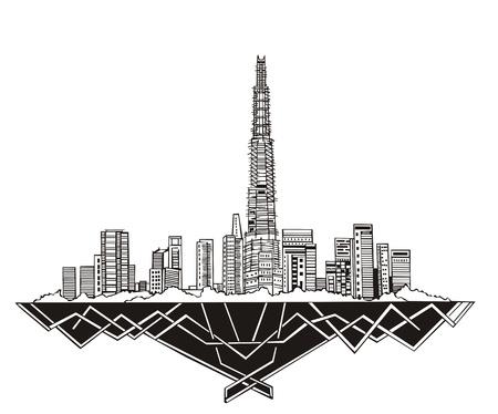 Horizonte de Dubai (Emiratos Árabes Unidos). En blanco y negro Ilustración de vector
