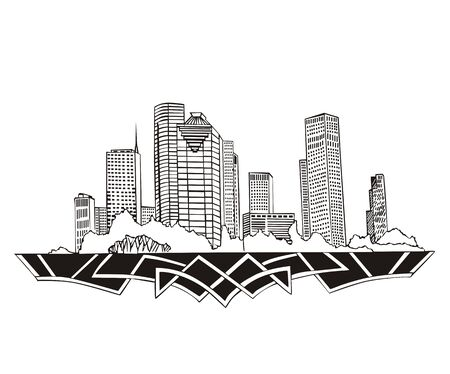 Houston, TX Skyline. Black and white  Stock Vector - 17331913