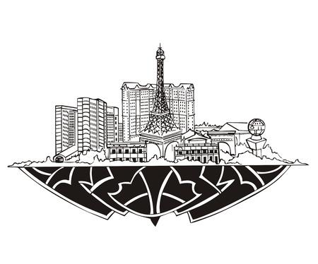 nv: Las Vegas, NV Skyline. Black and white