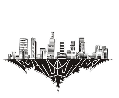 Los Angeles, CA Skyline. Black and white