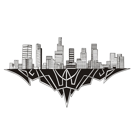 Los Angeles, CA Skyline. Black and white  Stock Vector - 17331897