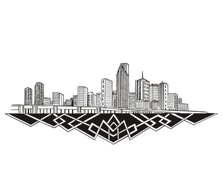 メトロポリス: マイアミ、フロリダ州のスカイライン。黒と白  イラスト・ベクター素材