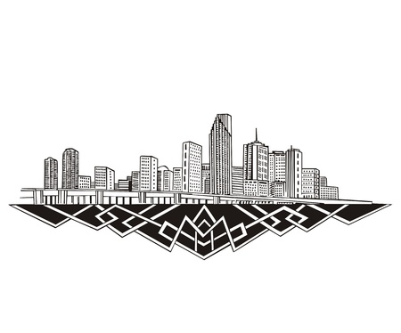 miami: Miami, FL Skyline. Black and white