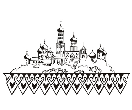 Stylized Moscow Kremlin sketch (Russia). Black and white