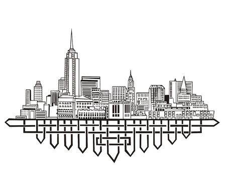ニューヨークのスカイライン。黒と白  イラスト・ベクター素材