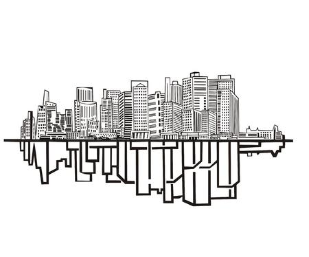New York Skyline. Black and white Stock Vector - 17331902