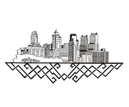 フィラデルフィア、PA のスカイライン。黒と白