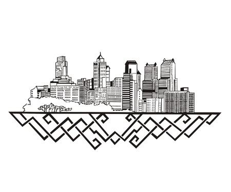 philadelphia: Philadelphia, PA Skyline. Black and white