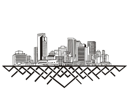 Phoenix, AZ Skyline. Black and white Stock Vector - 17331907