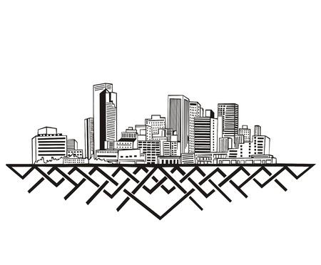 Phoenix, AZ Skyline. Black and white Stock Vector - 17331907