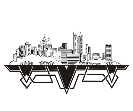 pennsylvania: Pittsburgh, PA Skyline. Black and white