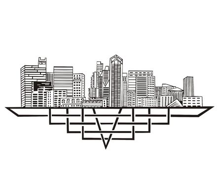 San Diego, CA Skyline. Black and white Stock Vector - 17331892