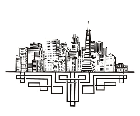 San Francisco, CA Skyline. Black and white Vector