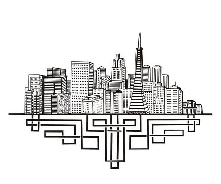 san francisco: San Francisco, CA Skyline. Black and white