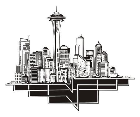 シアトル、ワシントン州のスカイライン。黒と白  イラスト・ベクター素材