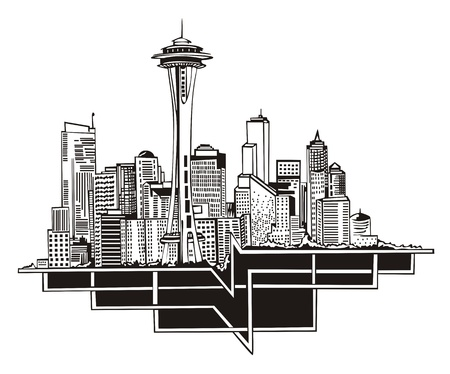 Seattle, WA Skyline. Black and white Vector