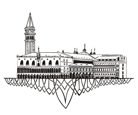 Venice Skyline (Italy). Black and white Vector