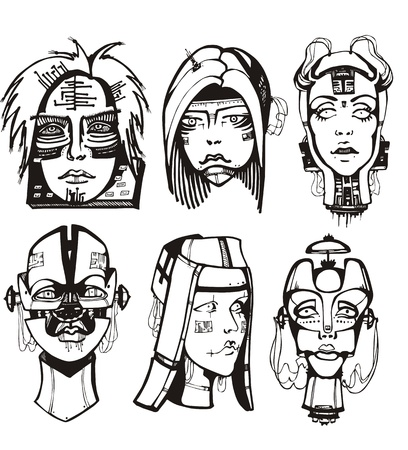 Heads of female cyborgs. Concept of biomechanical fiction. Vector