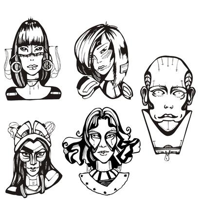 Heads of female cyborgs. Concept of biomechanical fiction.