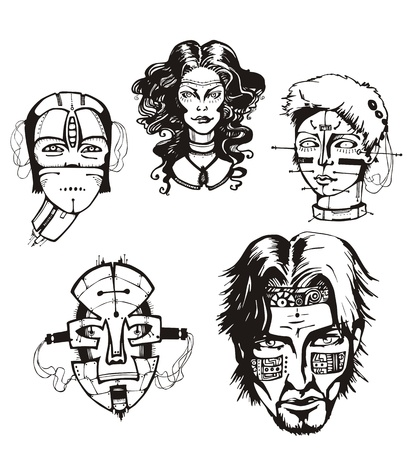 Heads of female cyborgs. Concept of biomechanical fiction. Stock Vector - 17946067