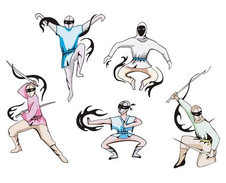 warrior tribal tattoo: set of japanese ninjas. Tattoos.