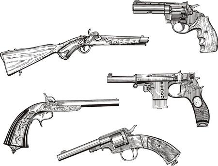 昔の拳銃と拳銃を設定します。スケッチ。