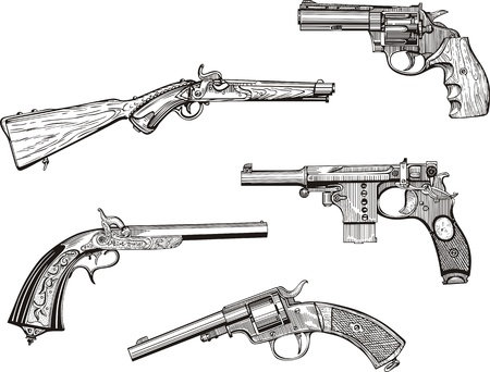 set of old revolvers and pistols. Sketches. Vector