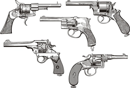 set of old revolvers. Sketches. Stock Vector - 17946266
