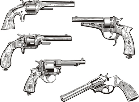 set of old revolvers. Sketches. Vector